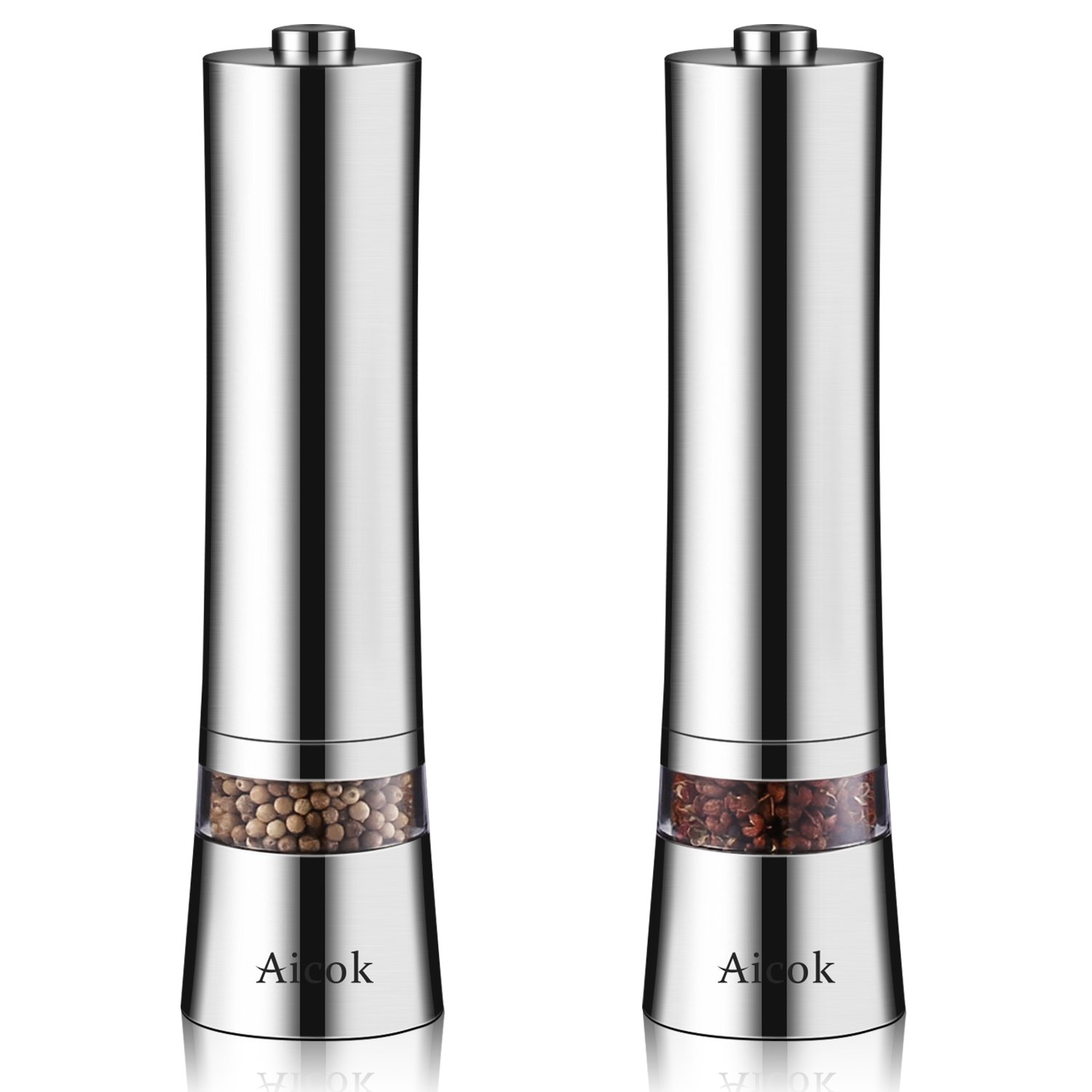 Aicok Electric Salt and Pepper Grinder Set Pack Of 2 Stainless
