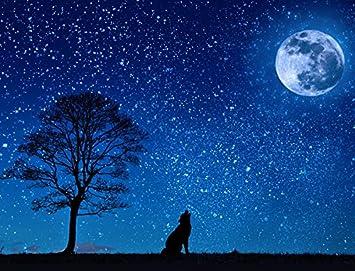 Lobo Aullando A La Luna Calidad Alfombrilla De Ratónpad 24 X 19