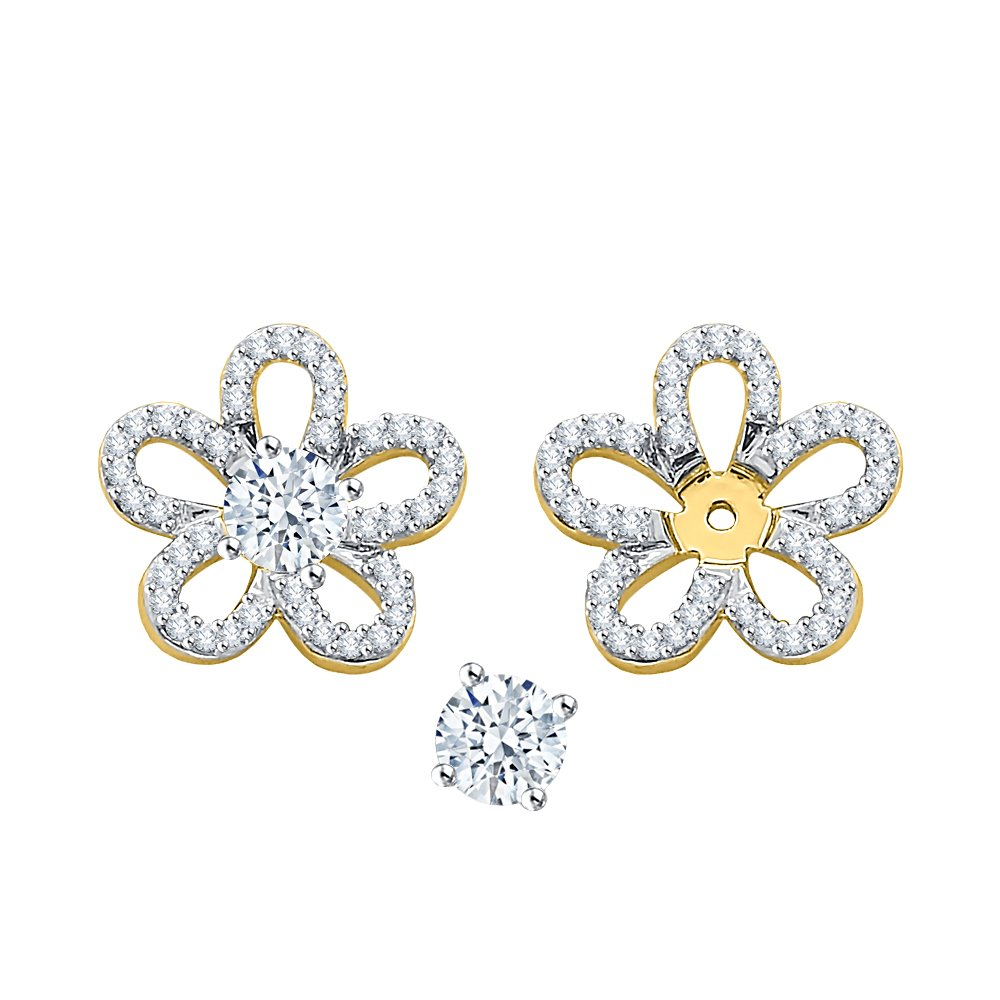 Diamond Floral Earring Jackets in 10K Yellow Gold (1/3 cttw) (Color GH, Clarity I2-I3)
