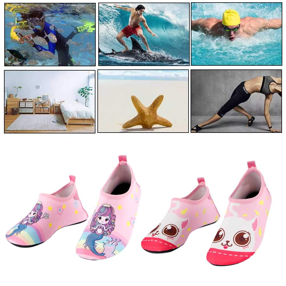 CHAMPAONE Kids Boys and Girls Swim Water Shoes Quick Drying Barefoot Aqua Socks Shoes for Beach Pool Surfing Yoga