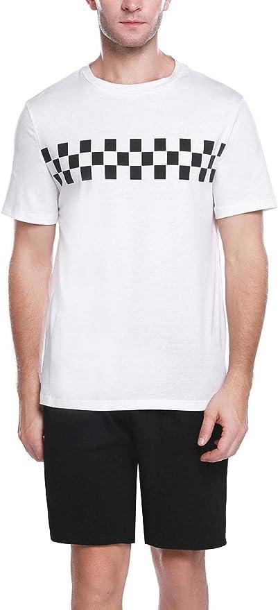 Abollria Pijama Hombre Corto Verano 2 Piezas, Camiseta y Pantalones Cortos Algodón Casual Ropa de Dormir Set: Amazon.es: Ropa y accesorios