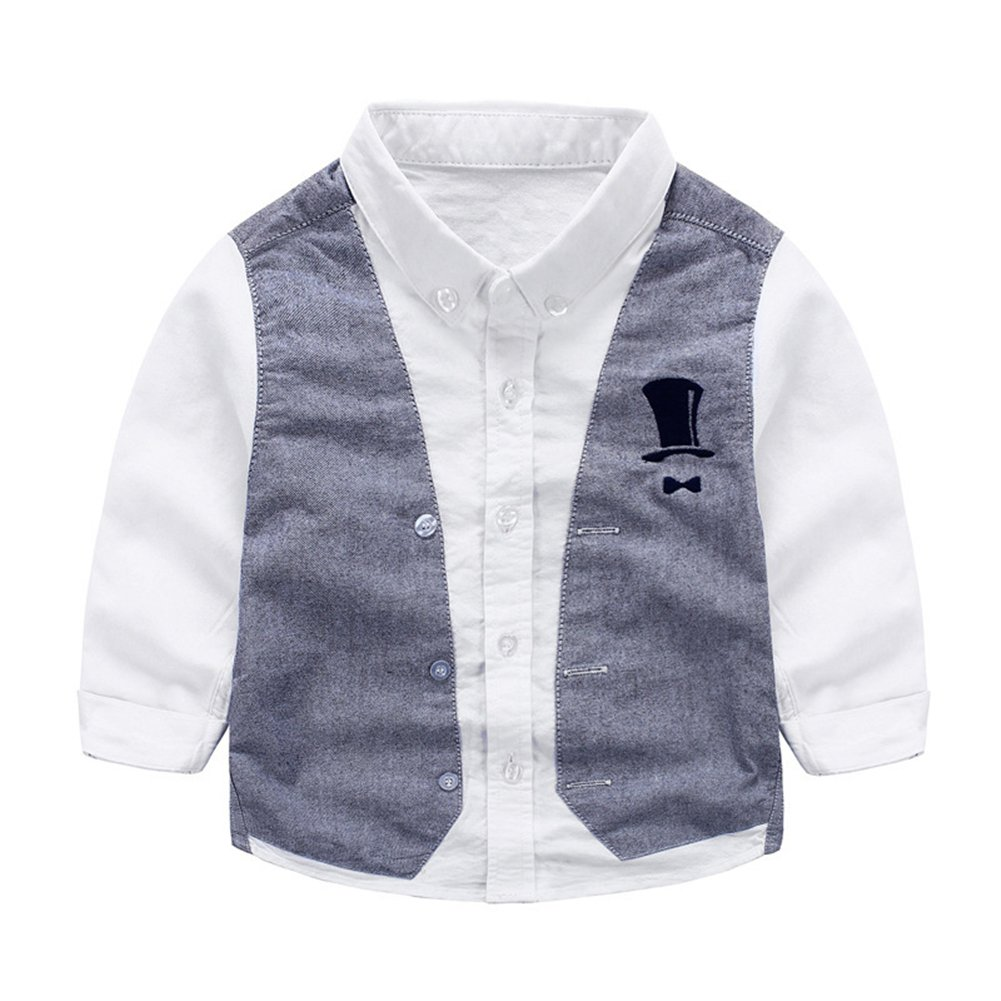 Tortor 1Bacha Kid Boys' Little Gentleman Long Sleeve Waistcoat Vest Shirt White 4T by Tortor 1Bacha (Image #1)