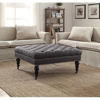 Square Tufted Ottoman In Charcoal Finish