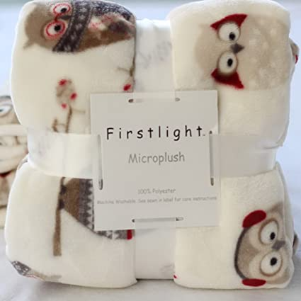29f2601057 Image Unavailable. Image not available for. Color  UE STORE Soft Microplush  Owl Blanket Baby ...