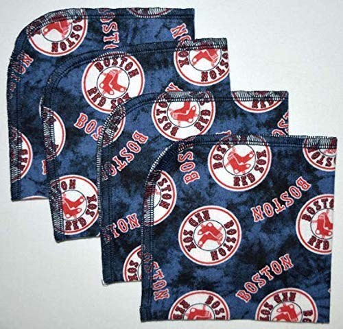 1 Ply 10x10 4 Pack Printed Flannel Washable-Red Sox -paperless -