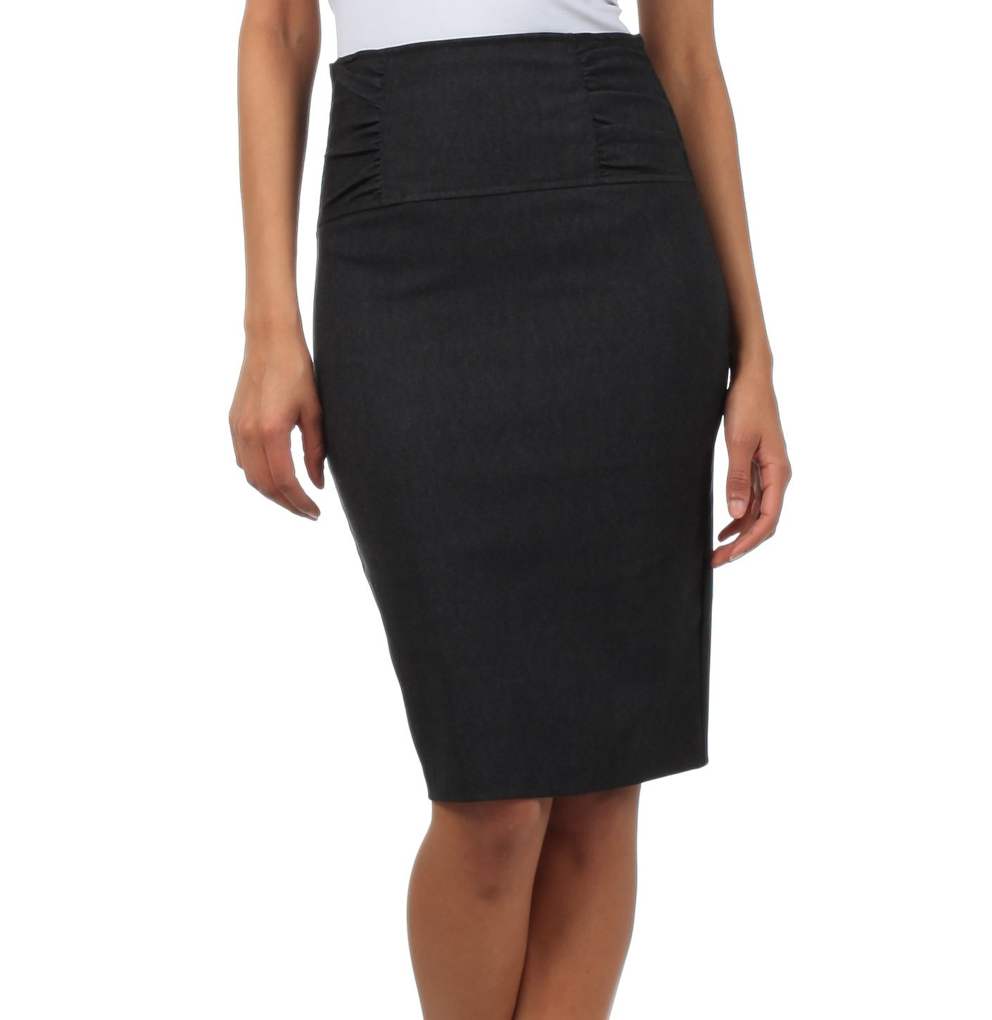 IMI-5235 Petite High Waist Stretch Pencil Skirt With Shirred Waist Detail - Charcoal / 3X