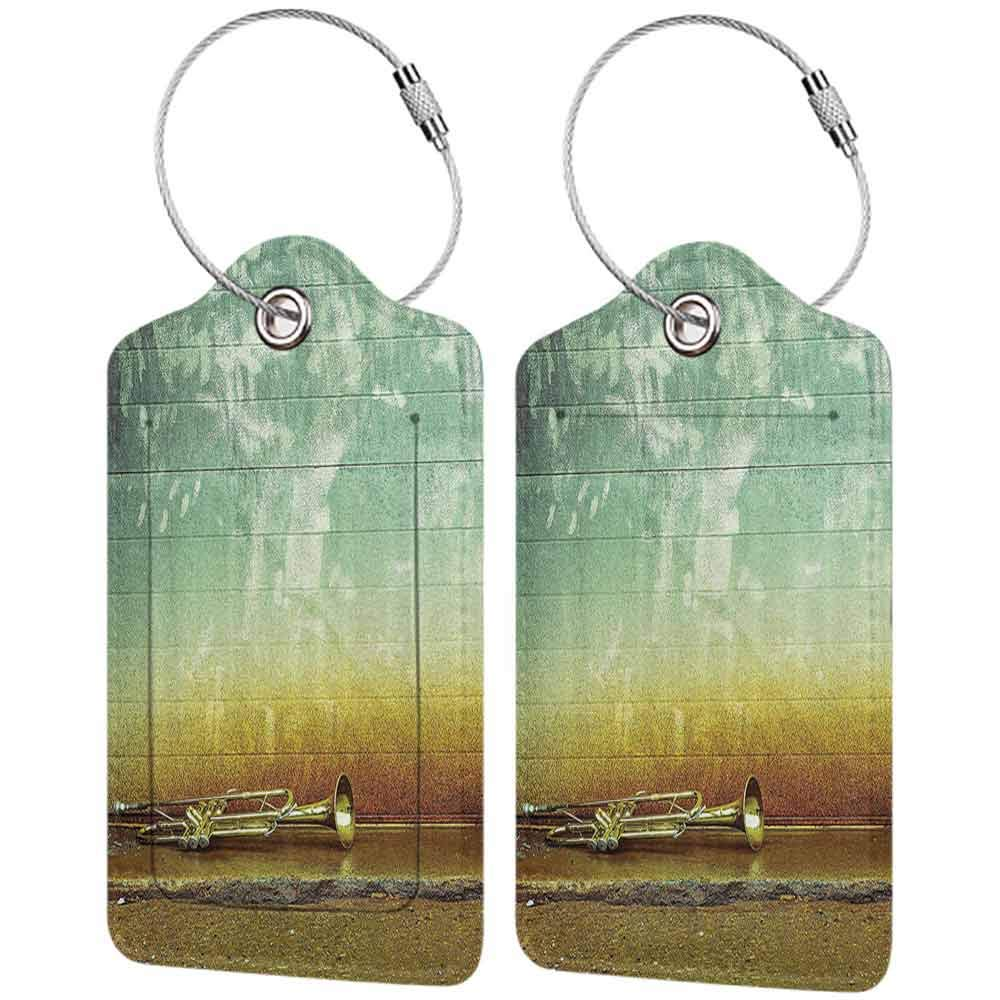 Personalized luggage tag Jazz Music Decor Old Worn Trumpet Stands Alone Against A Grungy Wall Outside Of Jazz Club Easy to carry Seafoam and Mustard W2.7 x L4.6