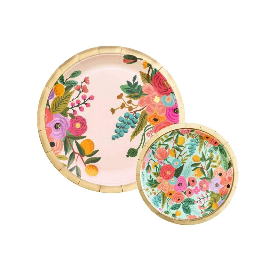 Rifle Paper Set of Party Plates Garden Party with (10) Large Dinner Plates and (10) Small Dessert/Appetizer Plates