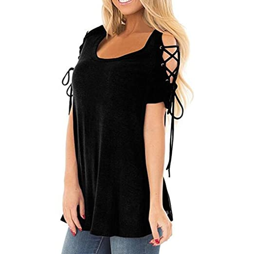 fcbb711bc3 Image Unavailable. Image not available for. Color: iYYVV Womens Shirts  Casual Cold Shoulder Lace up Short Sleeve Dressy Tunic Casual Tops