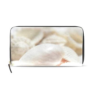 Amazon.com: Hermoso monedero de piel auténtica con bolsillos ...