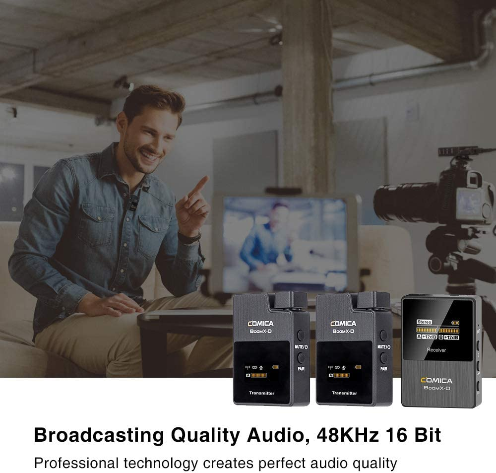 Global Free Frequency Working Range Up to 50m Real-time Audio Monitor OLED Display 2.4G Digital 1-Trigger-2 Wireless Microphone Comica BoomX-D Transmitter /& Receiver SLR Clip-on Microphone