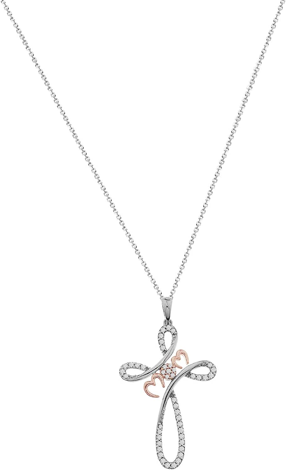 Eternal Bliss 1//3 cttw Round Real Diamond Mom Initial Cross Pendant with 18 Chain 10K White Gold