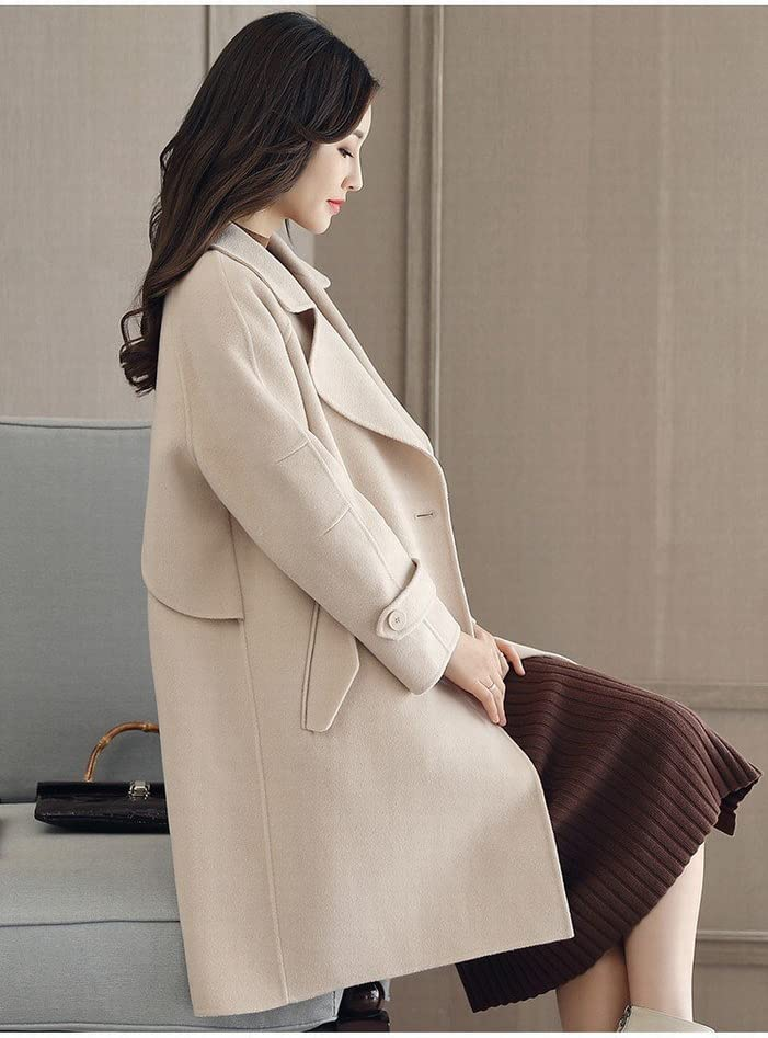 WYF Cappotto di Autunno e Inverno delle Donne nel Lungo Modello di Lana di Moda di Temperamento Sottile Slim Era Una Marea Sottile Bianco crema