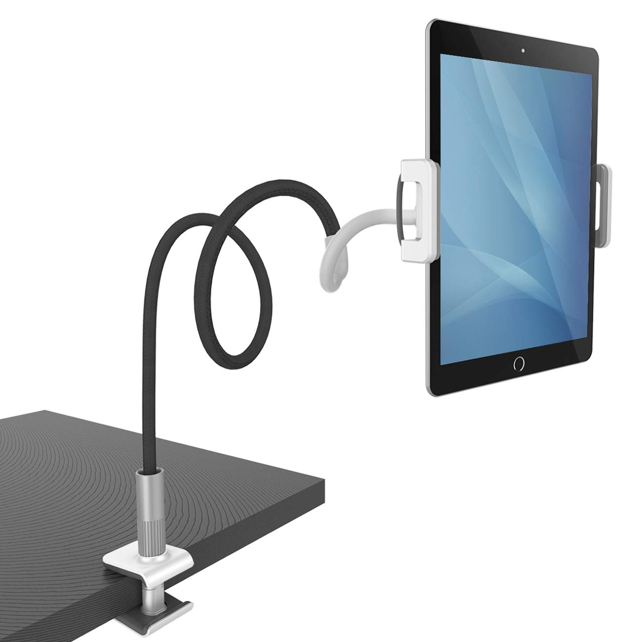 "Gooseneck Tablet Holder, Lamicall Tablet Mount : Flexible Arm Tablet Stand Compatible with iPad Mini, Pro, Air, Nintendo Switch, Samsung Galaxy Tabs, More 4.7-10.5"" Devices - Black"