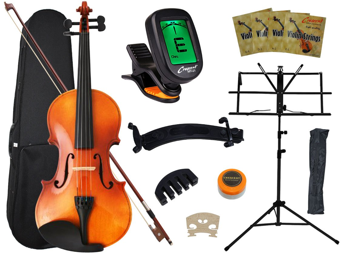Crescent 4/4 Full Size Student Violin Starter Kit(Bow, Rosin, Case, Music Stand, Shoulder rest, E-Tuner Generic VL-NR-PW