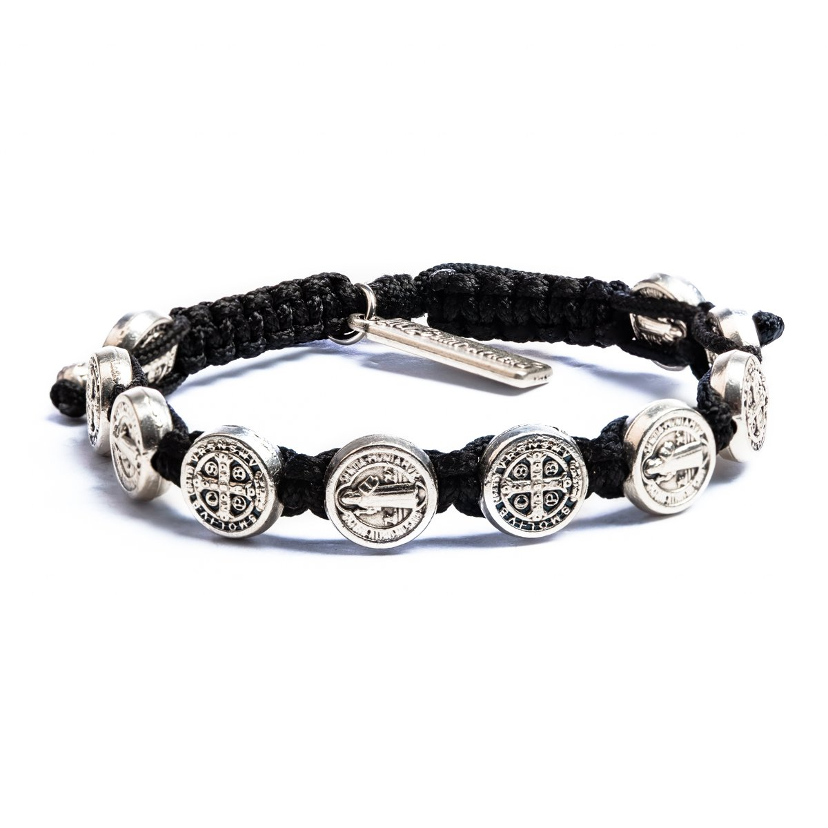 My Saint My Hero Benedictine Blessing Bracelet - Silver Medals/Black Cording by My Saint My Hero