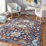 Mohawk Home Z0142 A416 096120 EC Prismatic Springfield Multicolored Boho Floral Precision Printed Area Rug, 8'x10′, Blue and Orange For Sale