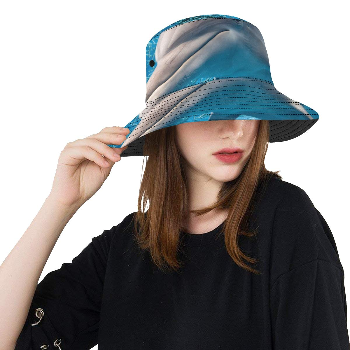 Women and Men with Customize Top Packable Fisherman Cap for Outdoor Travel Jumping Happy Excited Dolphin New Summer Unisex Cotton Fashion Fishing Sun Bucket Hats for Kid Teens