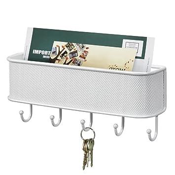 mDesign Organizador de correo y colgador de llaves – Soporte de pared con bandeja para cartas