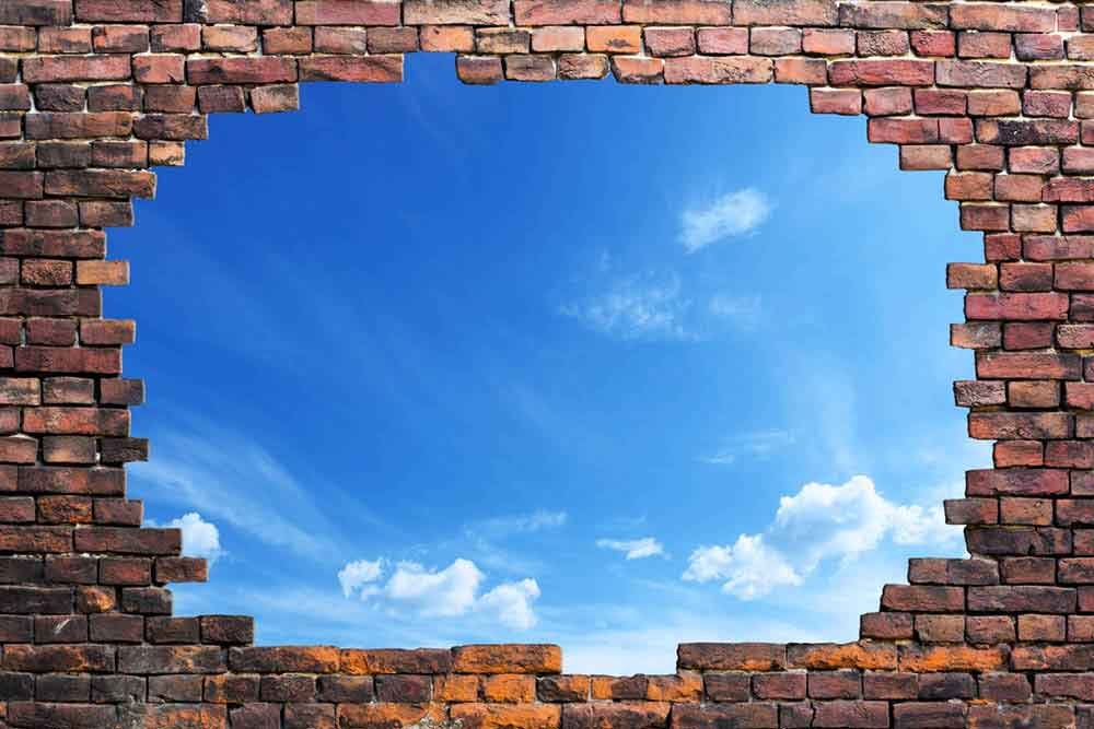 Large Wall Mural Blue Sunny Sky Viewed Through A Broken Brick 3D Visual Effect Vinyl