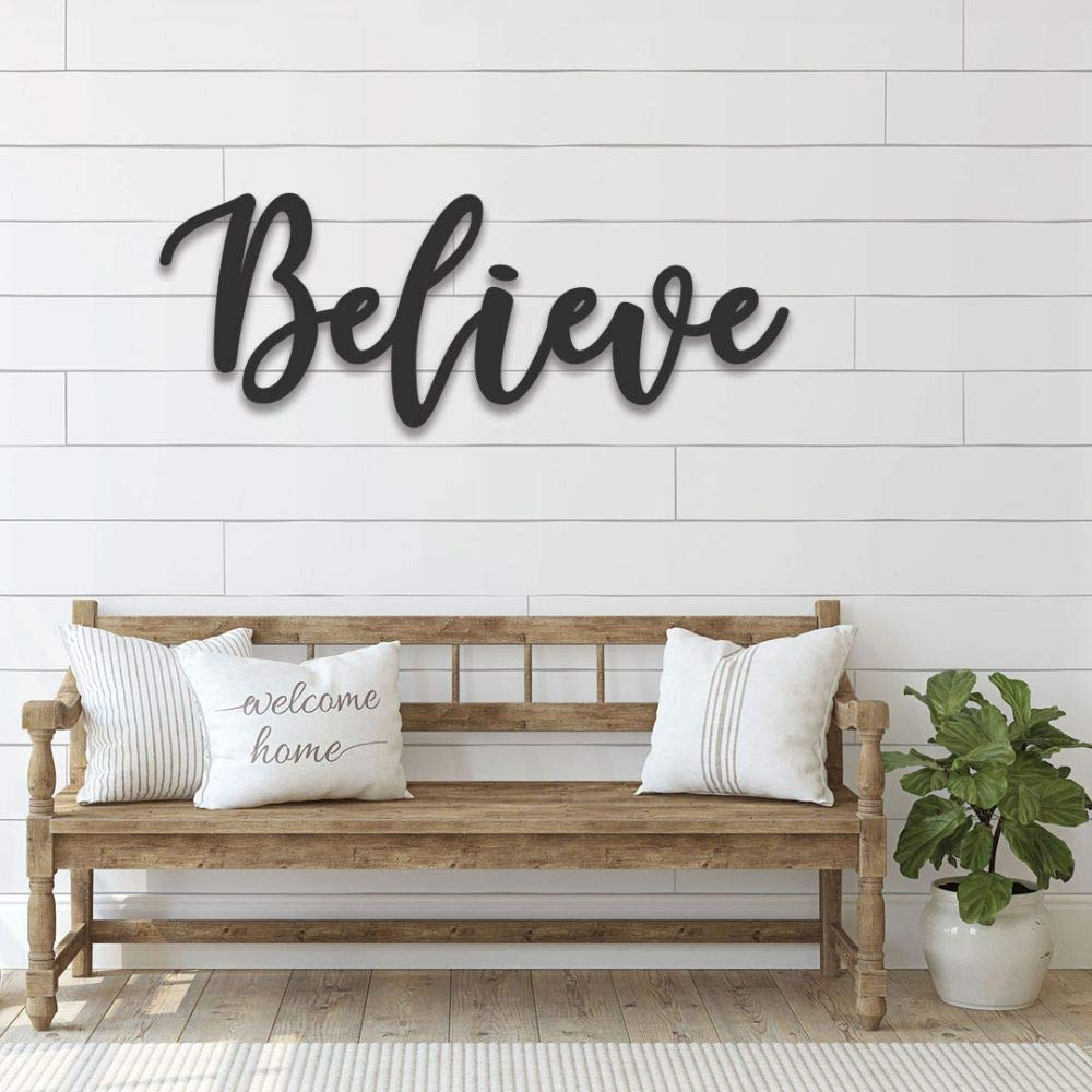 Amazon Com Handmade Believe Steel Metal Letters Sign Cursive Word Wall Art Housewarming Gift Farmhouse Country House Decor Personalized Rustic Decorative 3d Hanging Custom Option Available Handmade