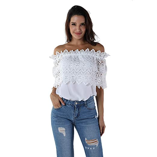 OMONSIM Women Sexy Off Shoulder Casual Lace Crochet Chiffon Blouse Tops (Small, White)