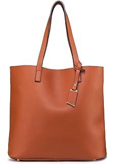 d77afd31c3 ilishop PU Leather Handbag Designer Pures - Pure Color Large Capacity Shoulder  Bag-Classical Tote
