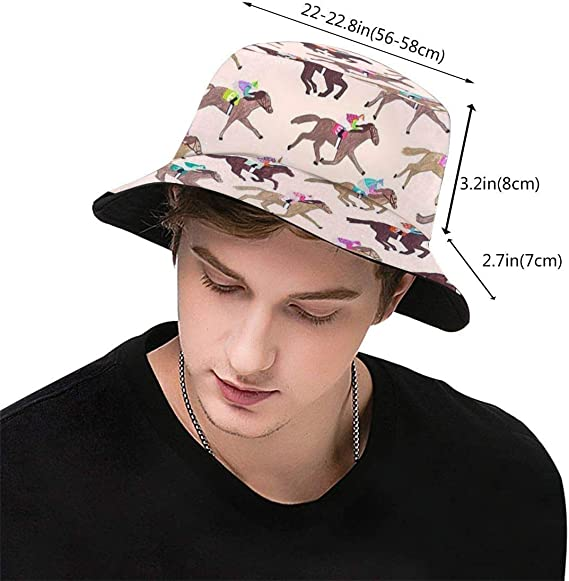 gii6LMLMLFGHLBB Horse Races Unisex Outdoor Sun Fisherman Bucket Caps Beach Hats