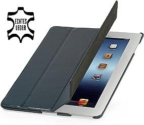 StilGut Couverture, custodia in vera pelle per il Apple iPad 3 & iPad 4 con funzione di supporto e smart cover, blu notte