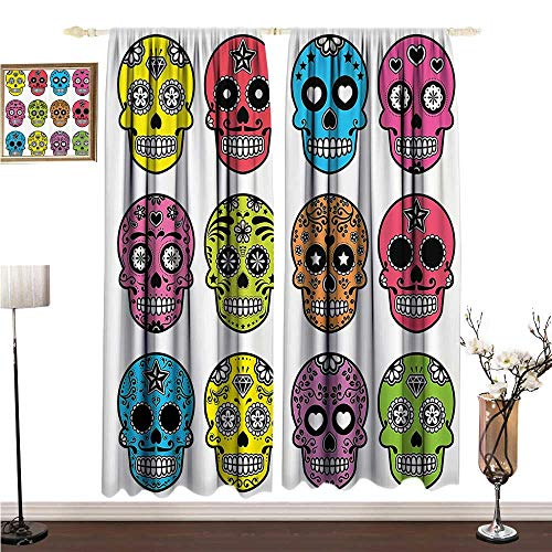 Anshesix Bedroom Windproof Curtain Skulls Decorations Collection Ornate