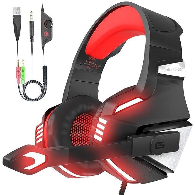 VersionTech. Auriculares para videojuegos PS4 con micrófono plegable, sonido envolvente, luz LED, control de volumen, cancelación de ruido, banda acolchada para PS4/PC/Xbox One/PSP/móvil/tableta.