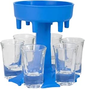 6 Ways Shot Glass Dispenser | Glasses Hanging Holder Stand Rack | Carrier Caddy Liquor Beverage Dispenser Gifts Drinking Games for Cocktail Party Get Togethers Girls Weekend (Blue)