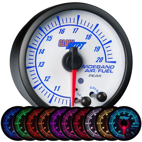 GlowShift White Elite 10 Color Analog Wideband Air/Fuel Ratio Gauge with Oxygen Sensor & Data Logging ()