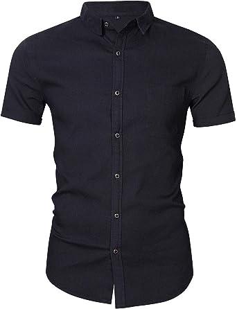 KUULEE Hombre Camisa Manga Larga Slim Fit Camisa Vaquera/Camisa a Cuadros Rejilla de Diamante: Amazon.es: Ropa y accesorios