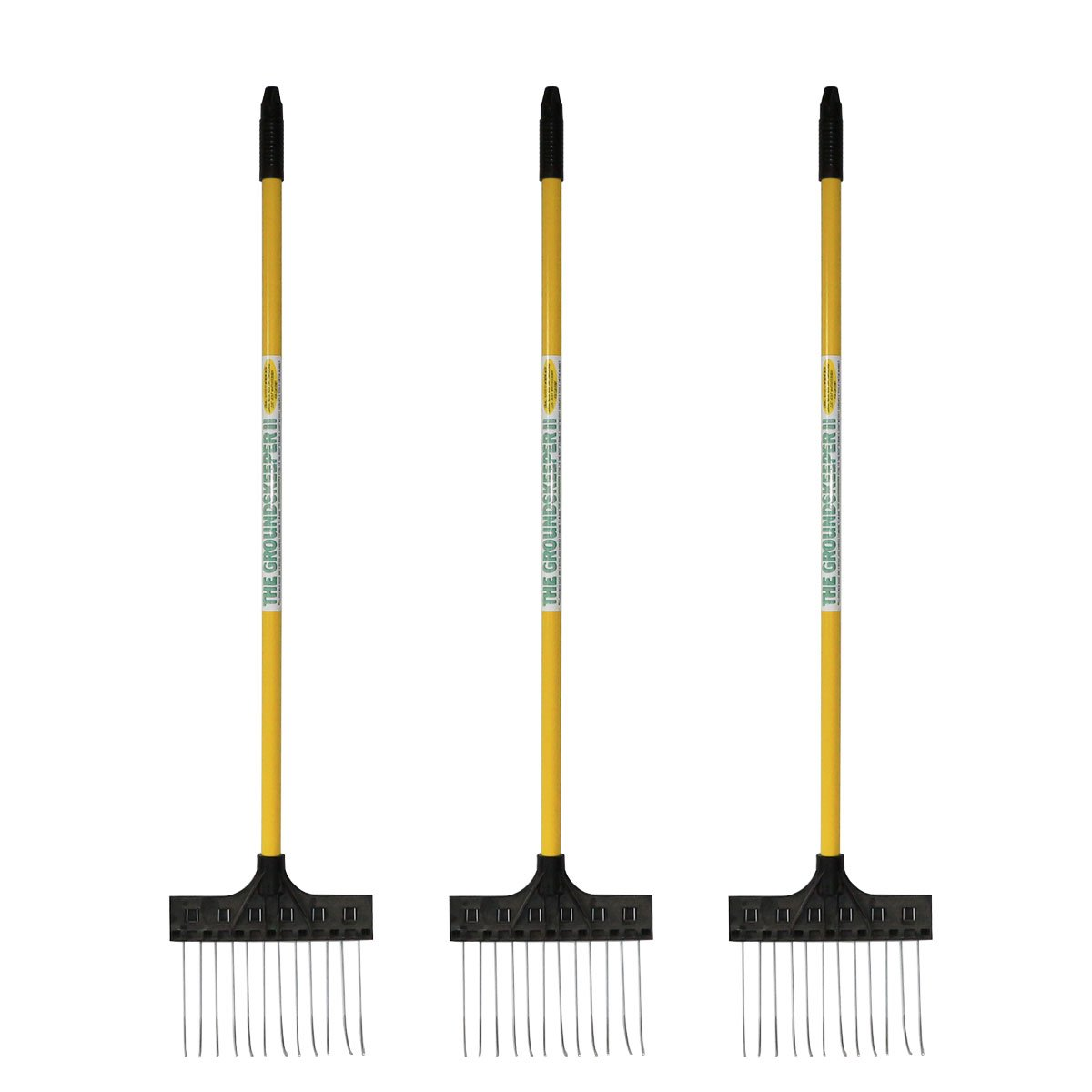 Pack of 3 - Deluxe Spot Rake / Leaf Rake - 9.5'' Head, 37.5'' Handle