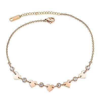 Gkmamrg - Tobillera para Mujer en Oro Rosa, Cadena de Acero ...