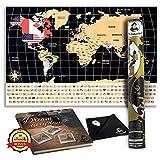 Whole Wide World Scratch Map–Personalizado para Rascar Mapa para viajar, La educación y Fun–Incluye Púa De Guitarra Rascador de espalda, paño de limpieza y folleto