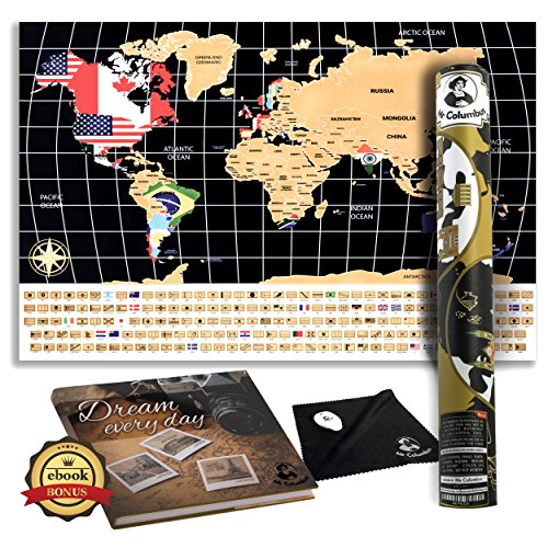 Columbus Proof - Scratch Off World Map Poster - with Country Flags, for Travel, Education, and Fun - Perfect for Travelers and Childrenּ+Free Ebook, Scrtcher, Wiping Cloth and Tube by Mr Columbus