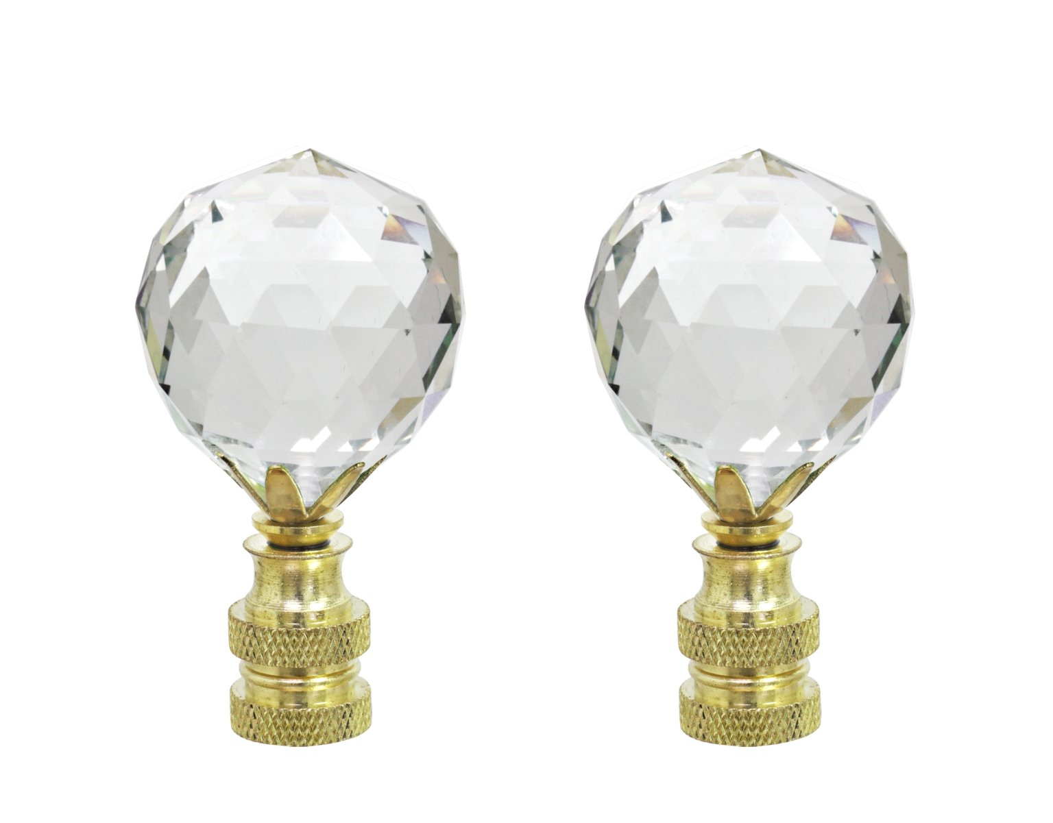 Aspen Creative 24007-12 Clear Faceted Crystal Lamp Finial in Brass Plated Finish, 2 1/4'' Tall (2 Pack),