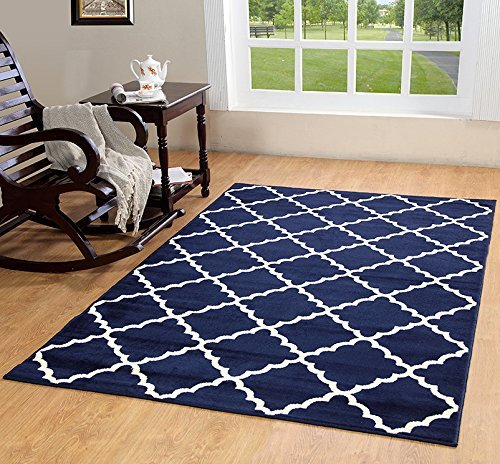 Geometric Rug Area Modern Contemporary (Furnish my Place Contemporary Trellis Modern Geometric Area Rug Red 635, Blue)