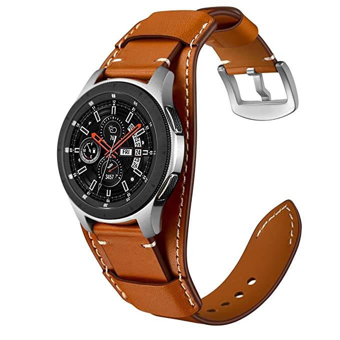 3ae980ff6 Genuine Leather Cuff Watch Band,20mm 22mm Cuff Leather Watch Band for Heart  Rate smartwatch