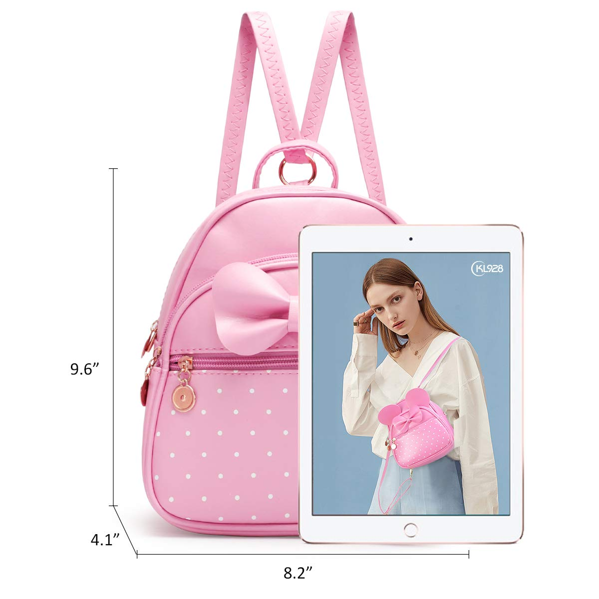 KL928 mini ryggsäck dam ledig barnryggsäck ryggsäckar liten baby ryggsäck dagis liten med rosett ryggsäck barn PU-läder för barn och flickor 848-01-rosa