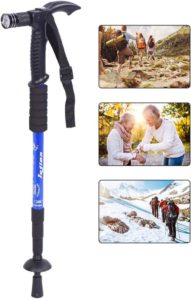 Brino Walking Stick, Portable Anti-Shock Telescopic Walking Hiking Stick with LED Light Handle Folding Cane