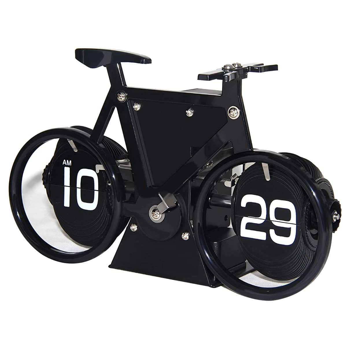 KABB Flip Clock, Retro Style Bicycle Shaped Flip Down Clock, Classical Mechanical Desk Clock, Digital Display with Battery Powered for Home & Office Décor (Black)