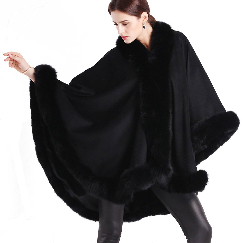 Oversized Cashmere Shawl Wrap Cape - HOMEYEAH Women's Luxurious Real Fox Fur Trimmed Winter Poncho Coat