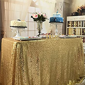 TRLYC Christmas 60 By 102 Inch Fathersu0027Day Gold Wedding Sequin Tablecloth  Shipping From USA