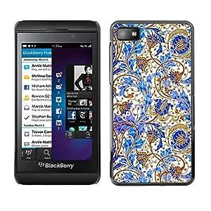 For Blackberry Z10 - White Blue Cornflower Floral Pattern /Modelo de la piel protectora de la cubierta del caso/ - Super Marley Shop -