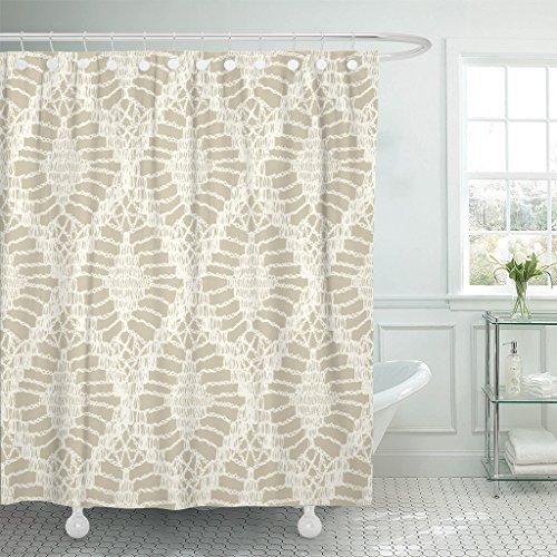(TOMPOP Shower Curtain Knitted Patterns Crochet Mesh Knitting Woven Macrame in the Bohemian Style Oriental Motifs Waterproof Polyester Fabric 72 x 72 inches Set with Hooks)