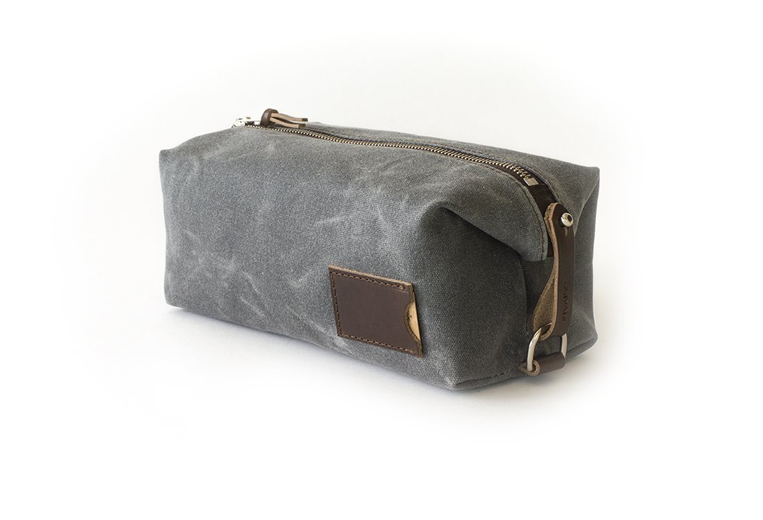 Waxed Canvas Dopp Kit: Expandable, water-resistant, Hanging Toiletry Bag, Travel, Slate Gray - No. 345 (Made in the USA)