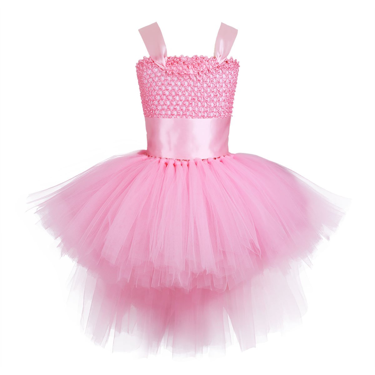 YiZYiF Girls Kids Handmade Hi-Low Party Birthday Pageant Wedding Tutu Dresses Dance Costumes Pink 3-4